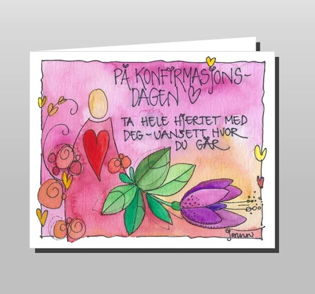 Konfirmasjonskort rosa (dobbelt kort)