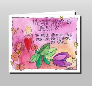 Bilde av Konfirmasjonskort rosa (dobbelt kort)